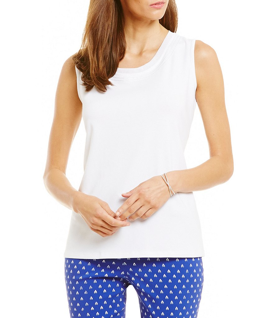 Allison Daley Petite Sleeveless Embellished Knit Top