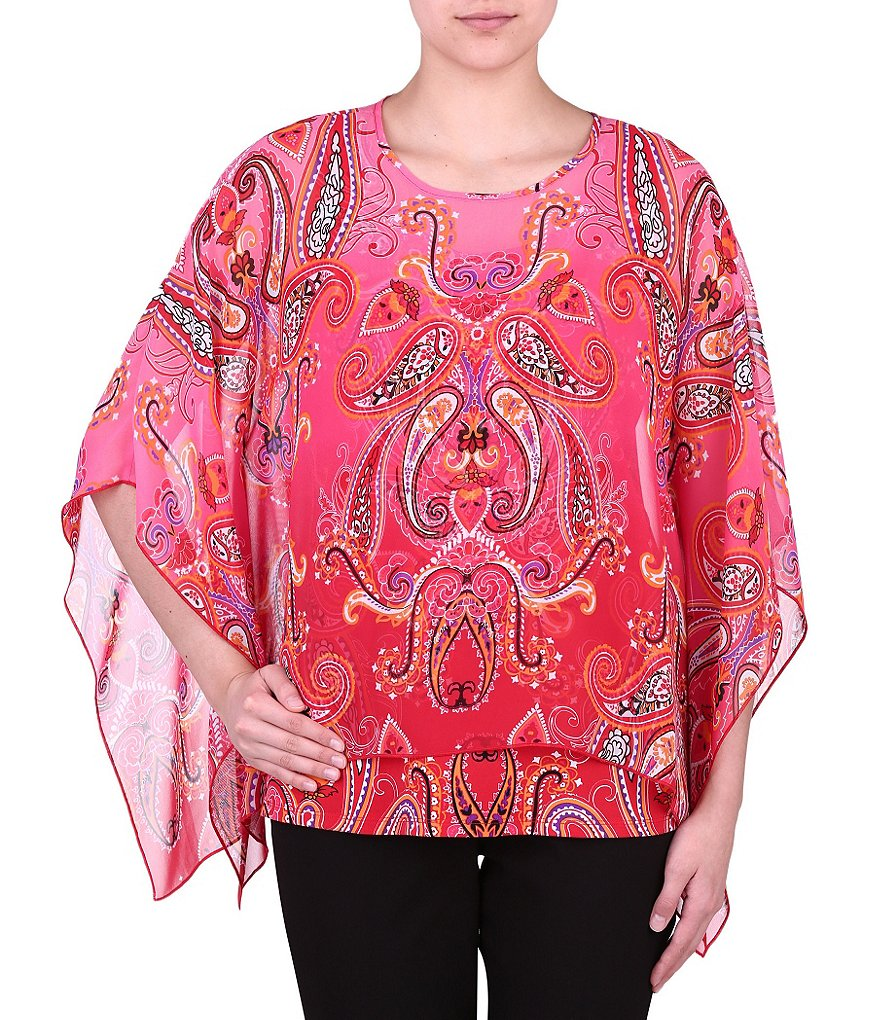 Allison Daley Petites Round-Neck Printed Poncho Top with Detachable Cami