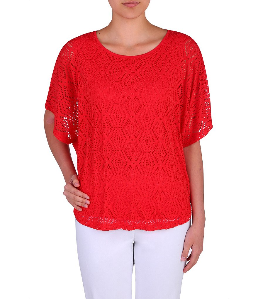 Allison Daley Petite Honeycomb Crochet Knit Poncho