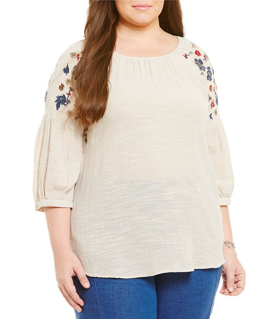 Intro Plus Cotton Embellished 3/4 Sleeve Peasant Top