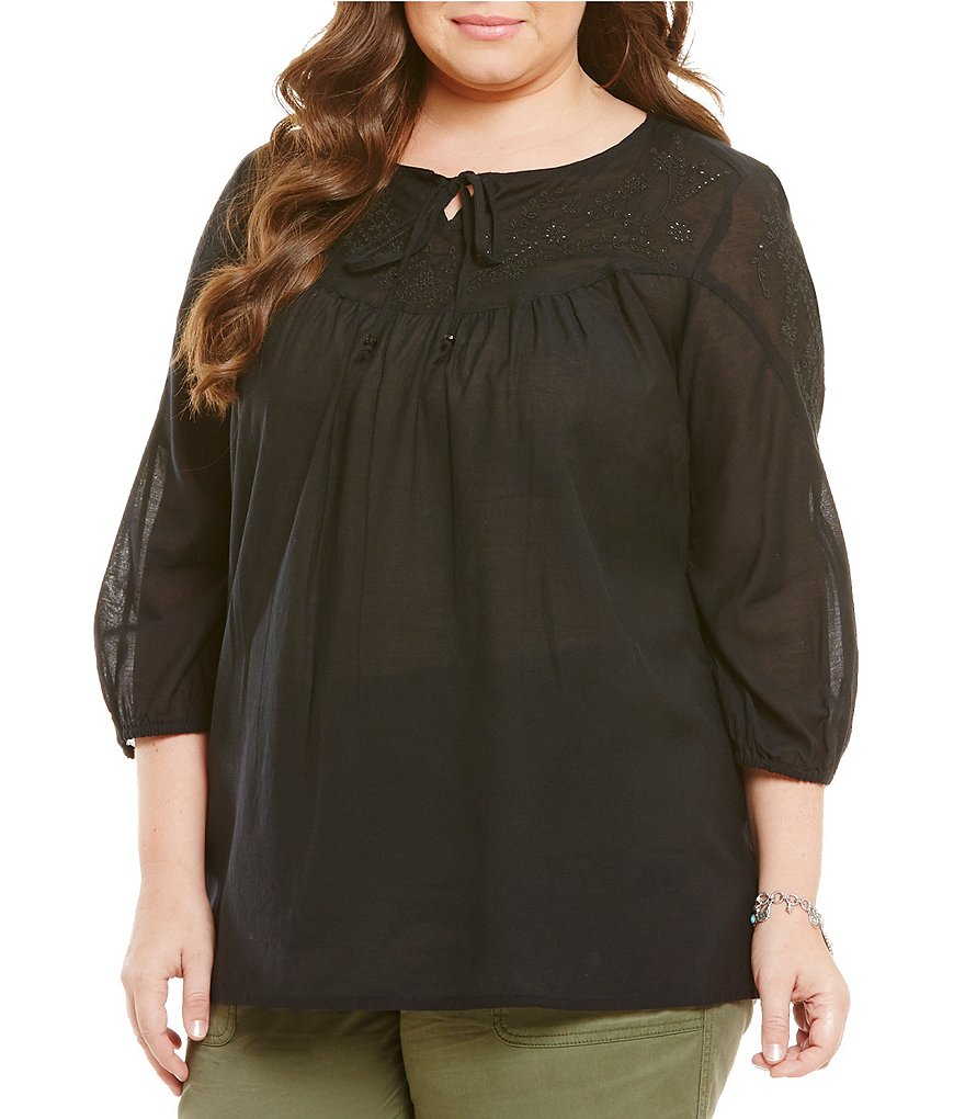 Intro Plus Rayon Crepe Embroidered Peasant Top
