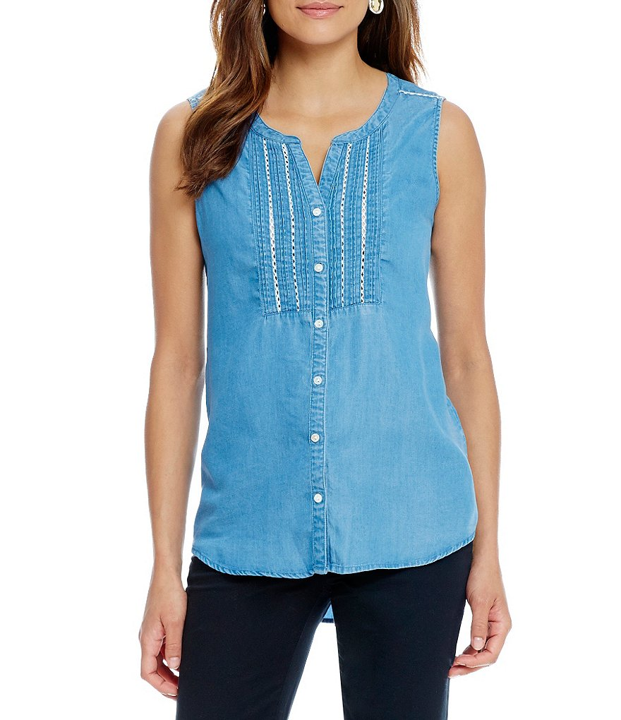 Intro Lyocell Denim Sleeveless Woven Top
