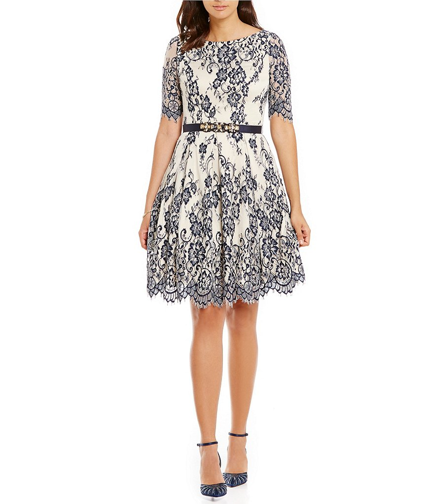 Eliza J Belted Illusion Lace Fit-and-Flare Dress