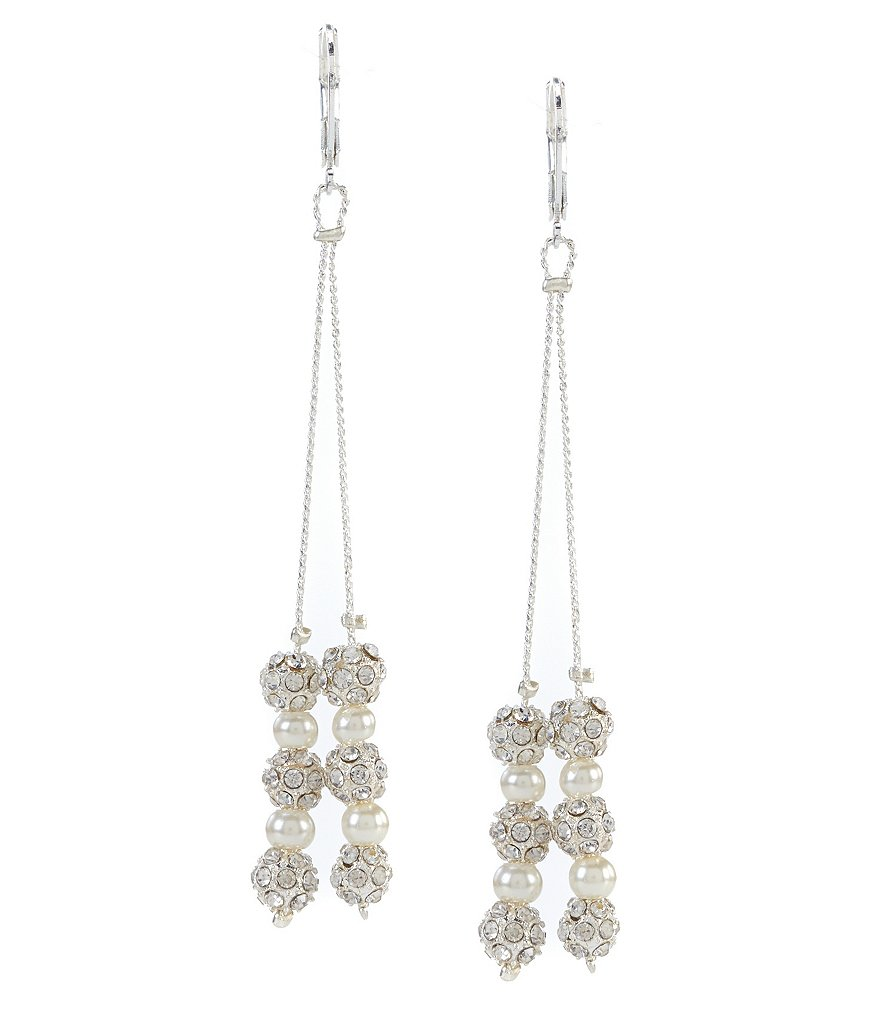 Cezanne Fireball & Pearl Linear Drop Earrings