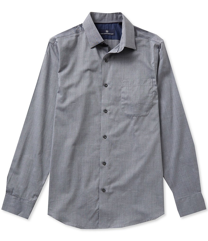 Hart Schaffner Marx Long-Sleeve Solid Woven Shirt