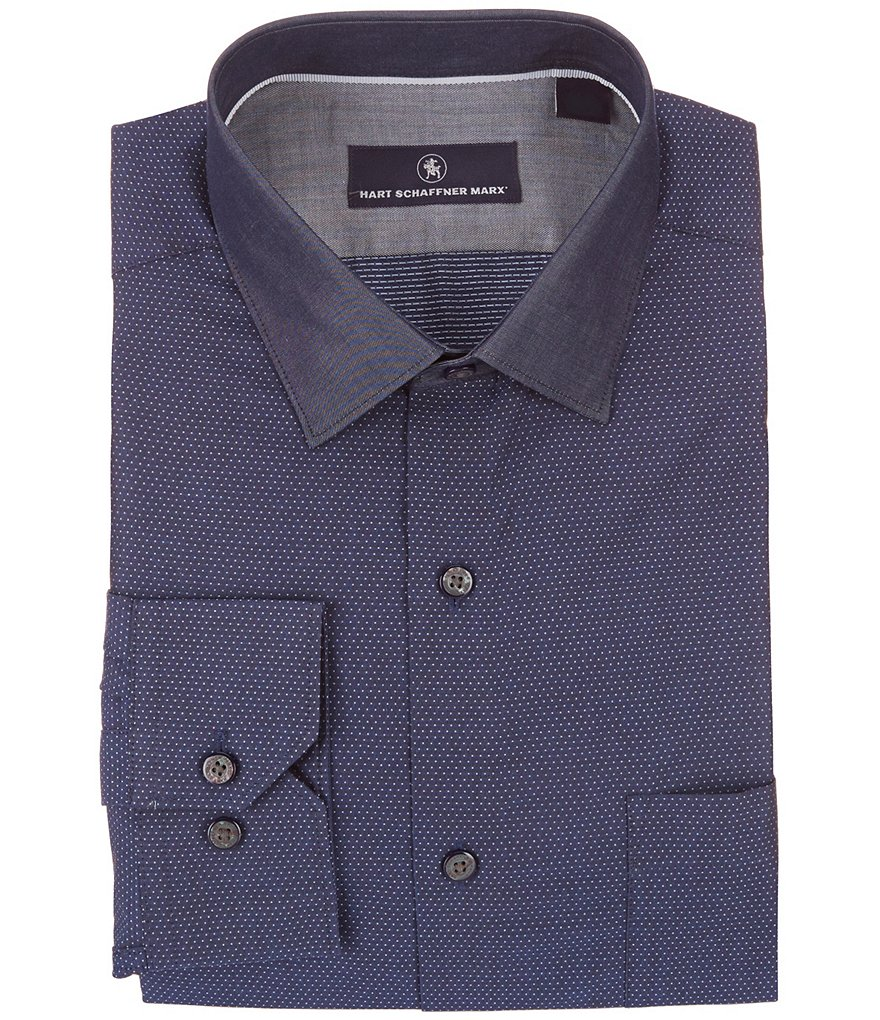 Hart Schaffner Marx Long-Sleeve Dot Dobby Woven Shirt
