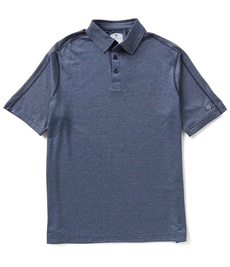 Cremieux Club 38 Short-Sleeve Mini-Horizontal-Striped Polo Shirt