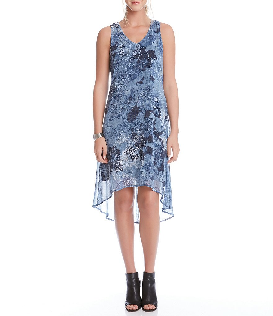 Karen Kane Indigo Floral Hi-Low Hem Dress