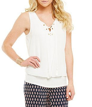 I.N. San Francisco Sheer-Overlay Lace-Up-Front Tank Top