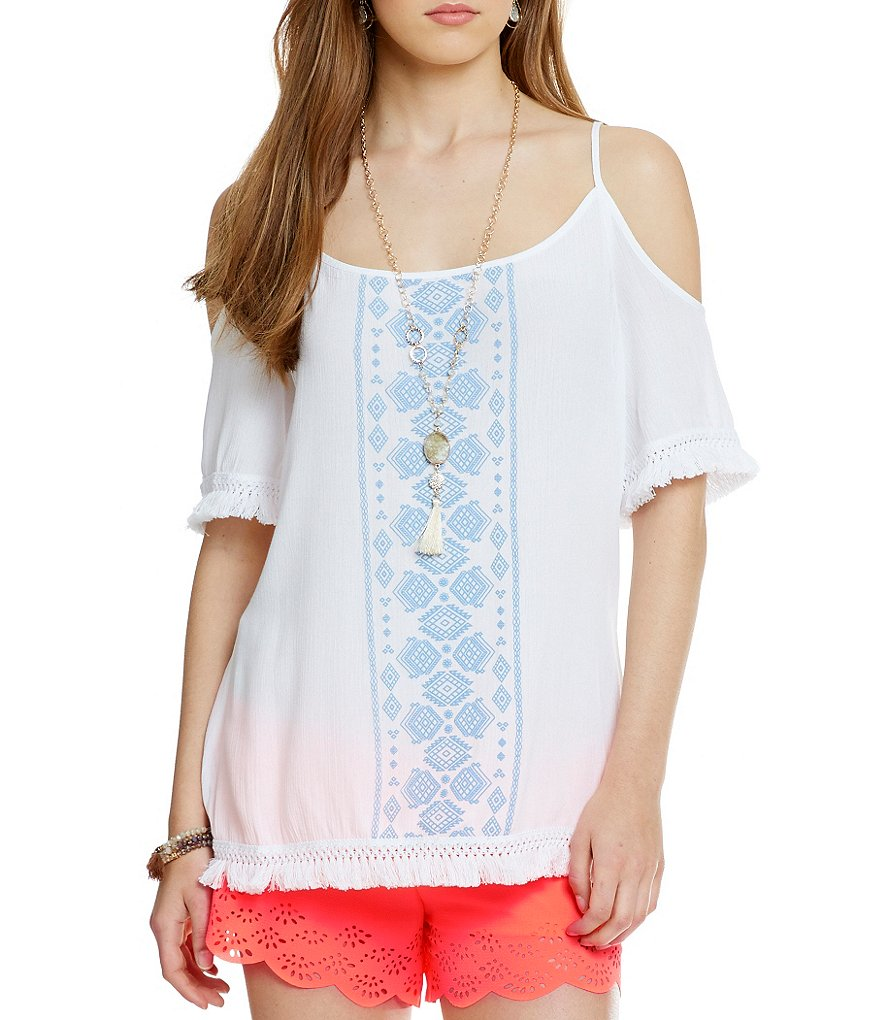 Soulmates Cold-Shoulder Embroidered Peasant Top