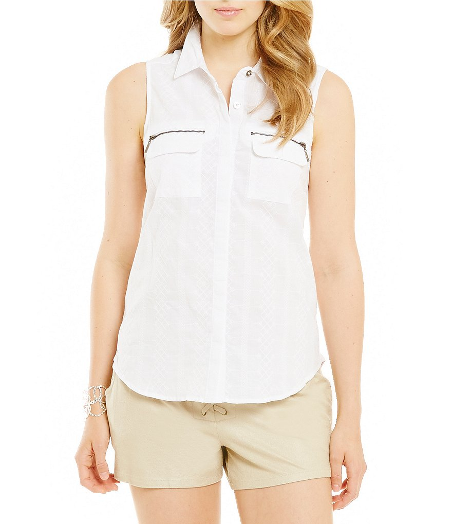 Takara Pocketed Eyelet Tank Top