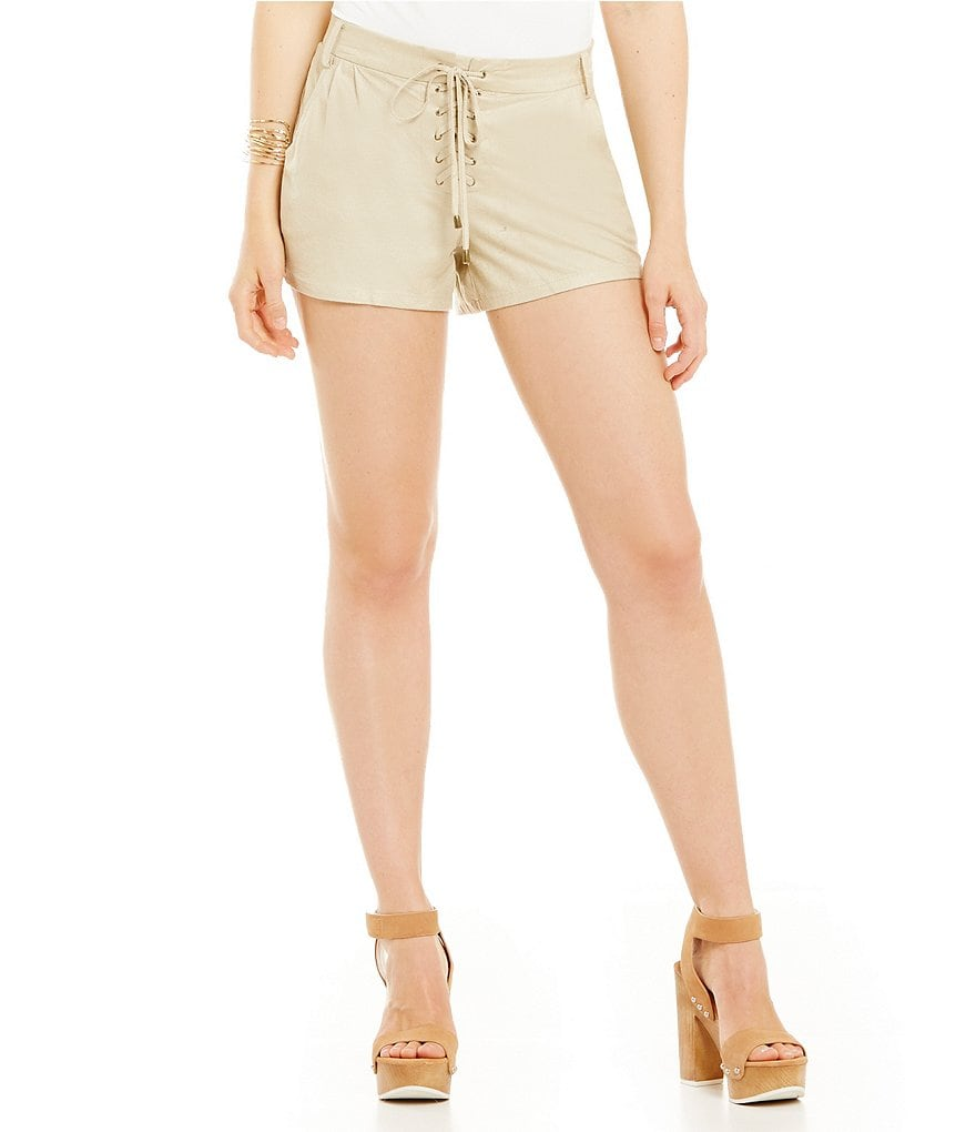 Takara Faux-Suede Lace-Up Soft Shorts