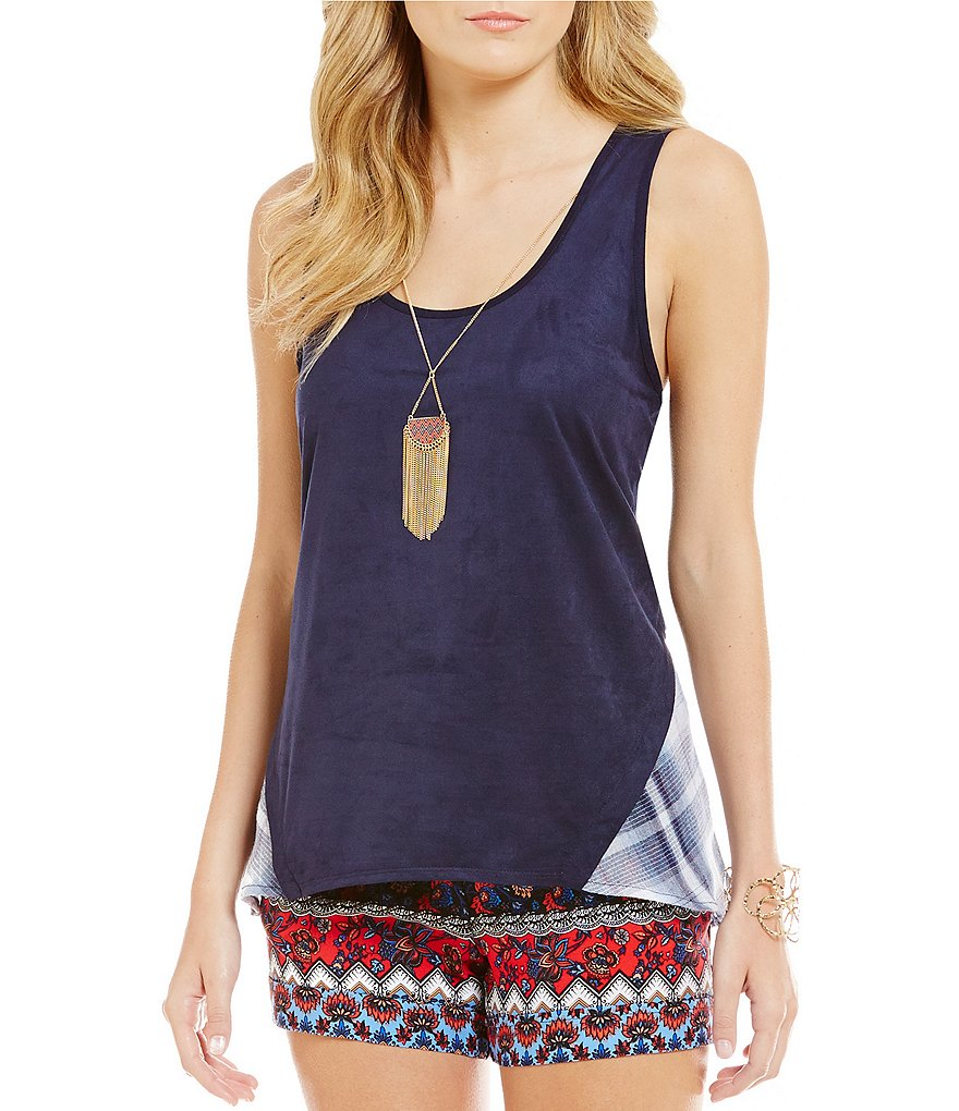 I.N. San Francisco Plaid-Back Faux-Suede Tank Top