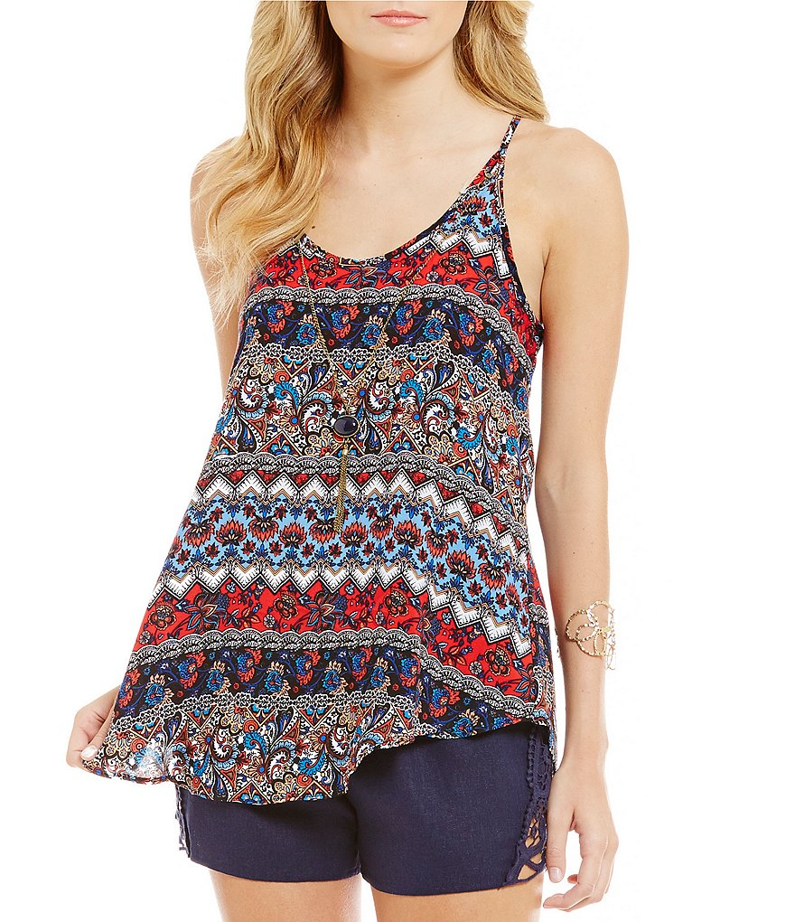 I.N. San Francisco Mixed-Print Chevron-Stripe Tank Top
