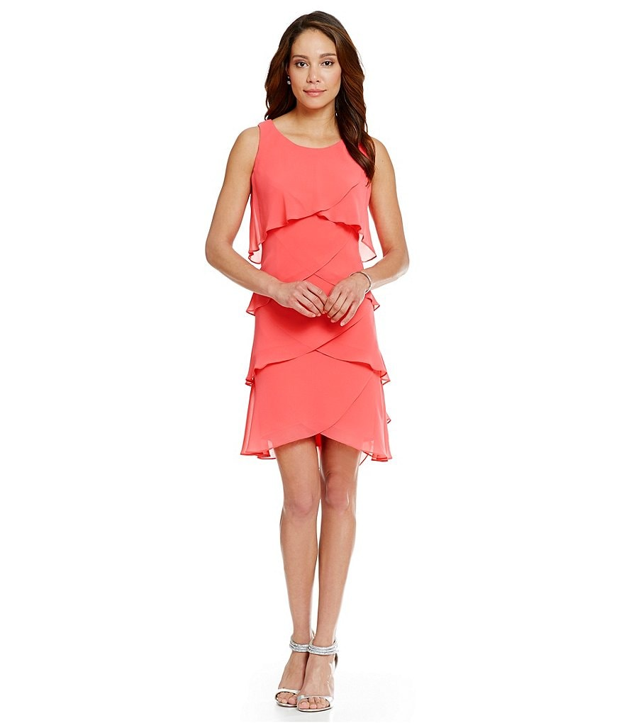 S.L. Fashions Tiered Tulip-Hem Chiffon Dress