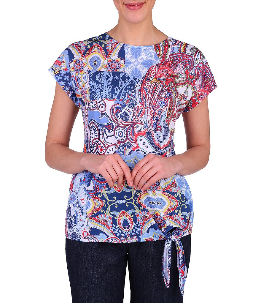 Allison Daley Petite Side Tie Paisley Knit Top