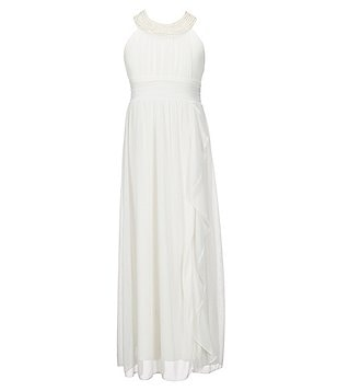 Xtraordinary Big Girls 7-16 Pearl Necklace Trim Chiffon Maxi Dress