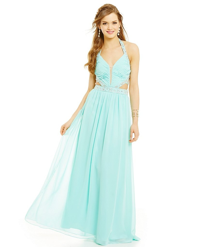 B. Darlin Beaded Trim Halter Cut-Out Gown