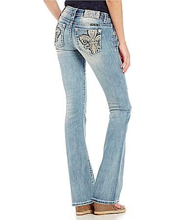 Miss Me Fleur De Lis Embroidered Bootcut Jeans
