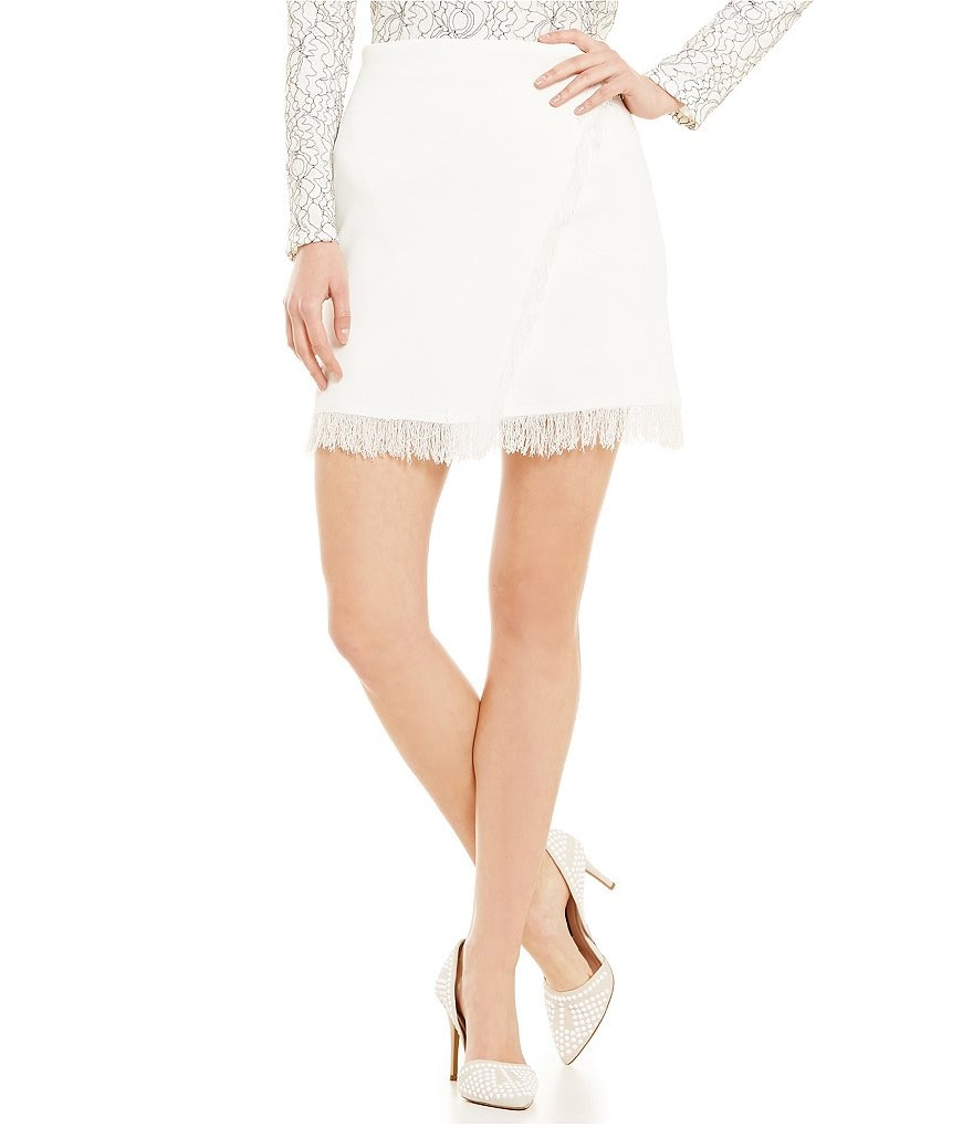 Lucy Paris White Eyelash Fringe Trim Skirt
