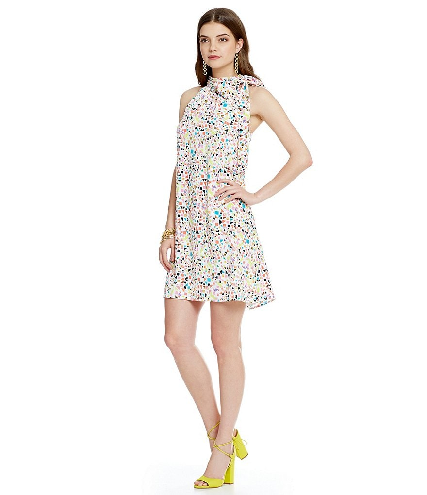 CeCe Candy Gems Printed Tie Halter Neck Dress