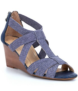 Nurture Terrie Denim Banded Wedge Sandals