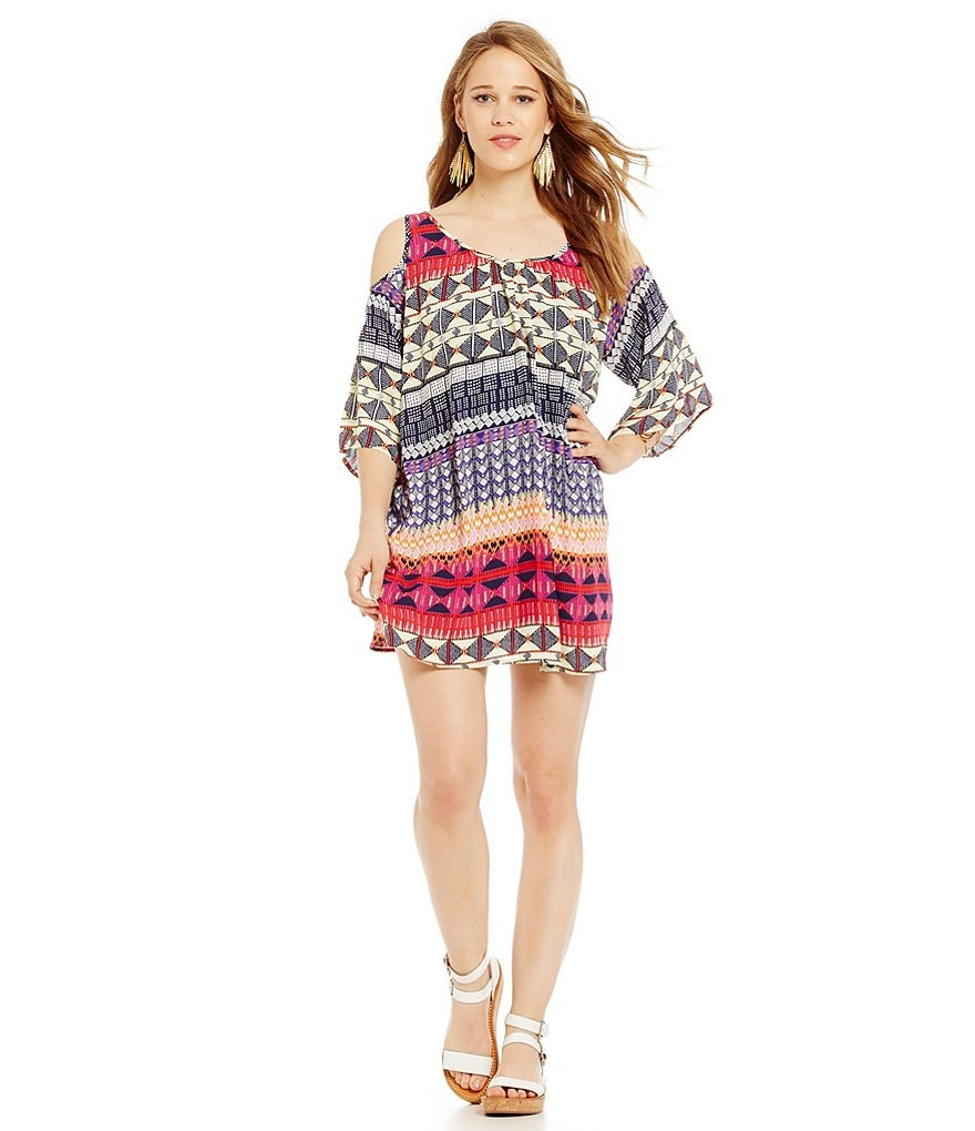 Collective Concepts Cold Shoulder Print Dress