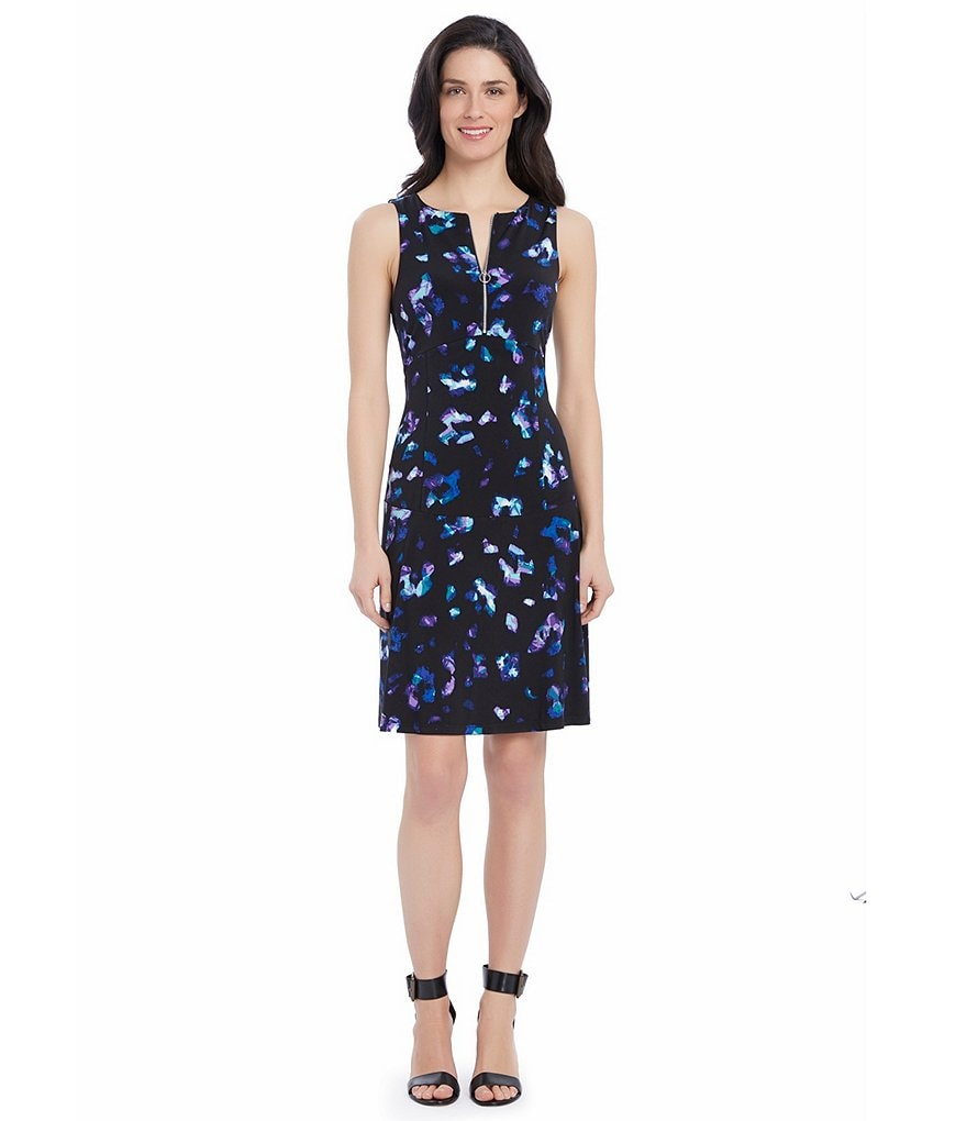 Ellen Tracy Front Zip Printed Matte Jersey Fit-And Flare Dress