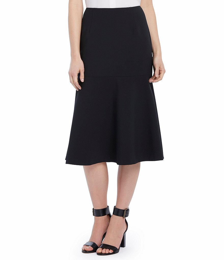 Ellen Tracy Drop Yoke Flounce Hem A-Line Crepe Skirt