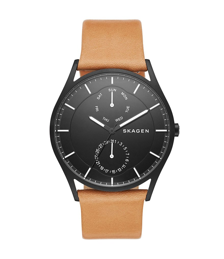 Skagen Holst Stainless Steel Multifunction Leather Strap Watch