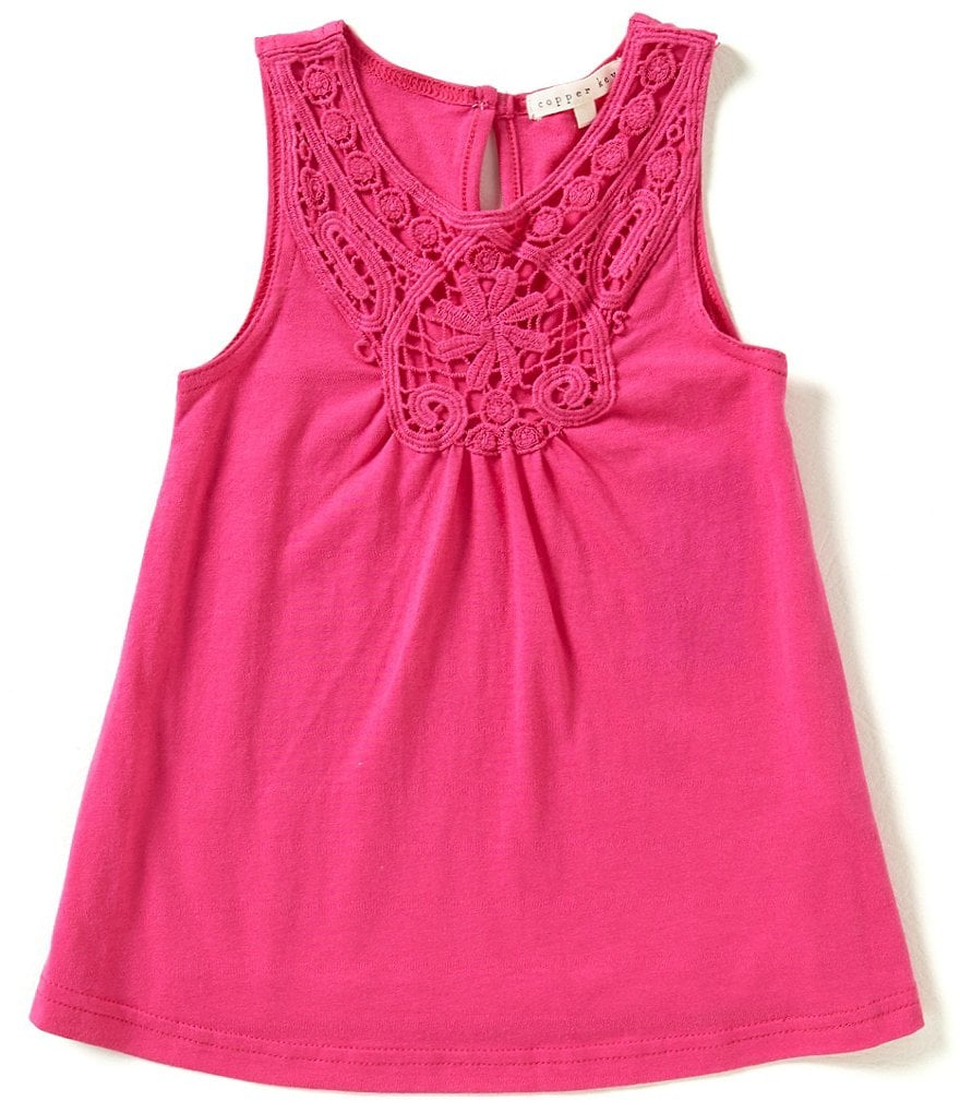 Copper Key Little Girls 2T-6X Crochet Tank Top