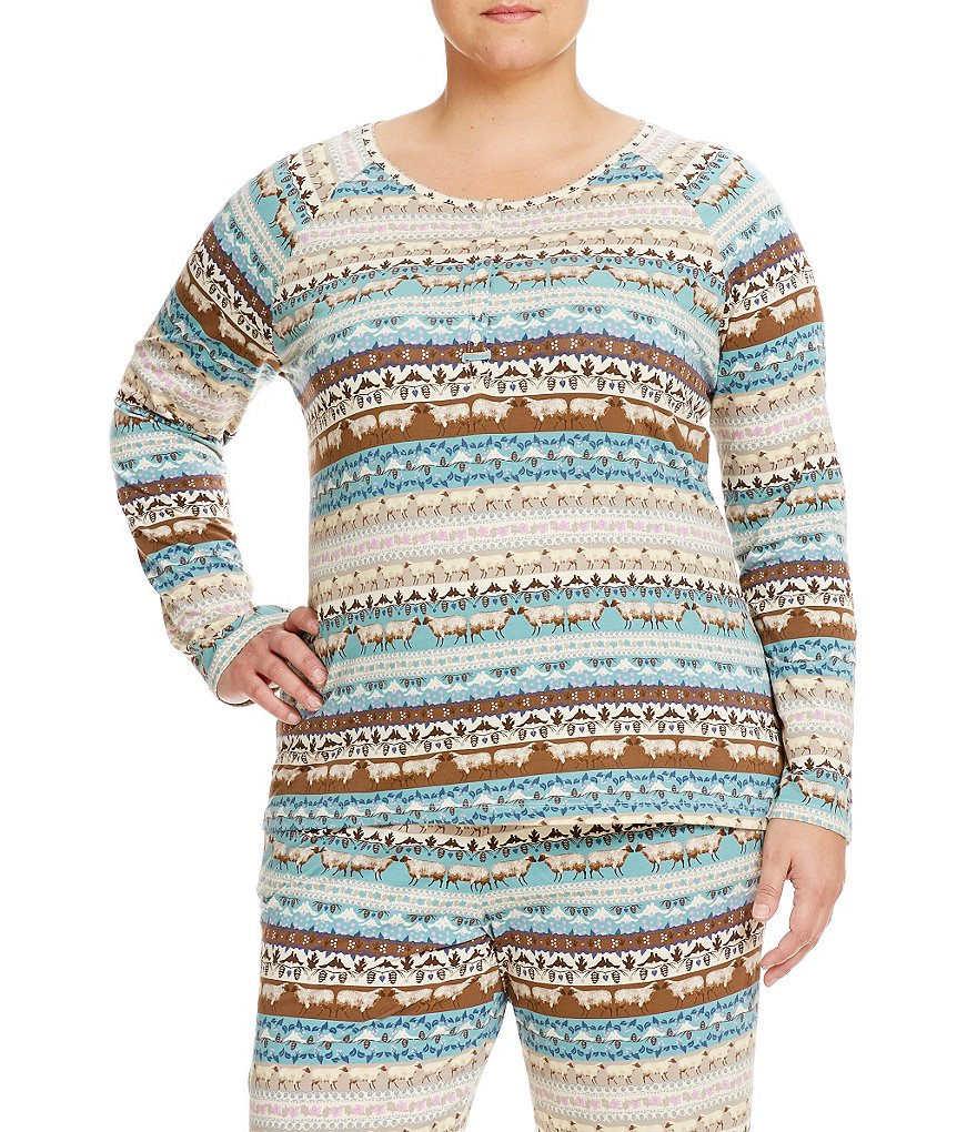 Sleep Sense Plus Fair Isle Henley Sleep Top