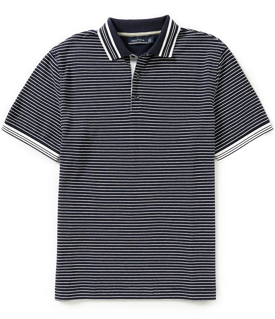 Nautica Horizontal Striped Pique Polo Shirt