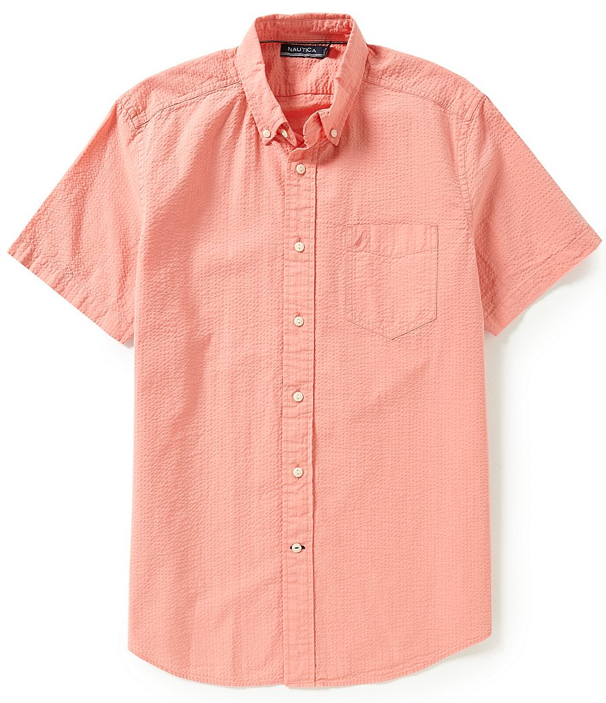Nautica Solid Seersucker Short Sleeve Shirt