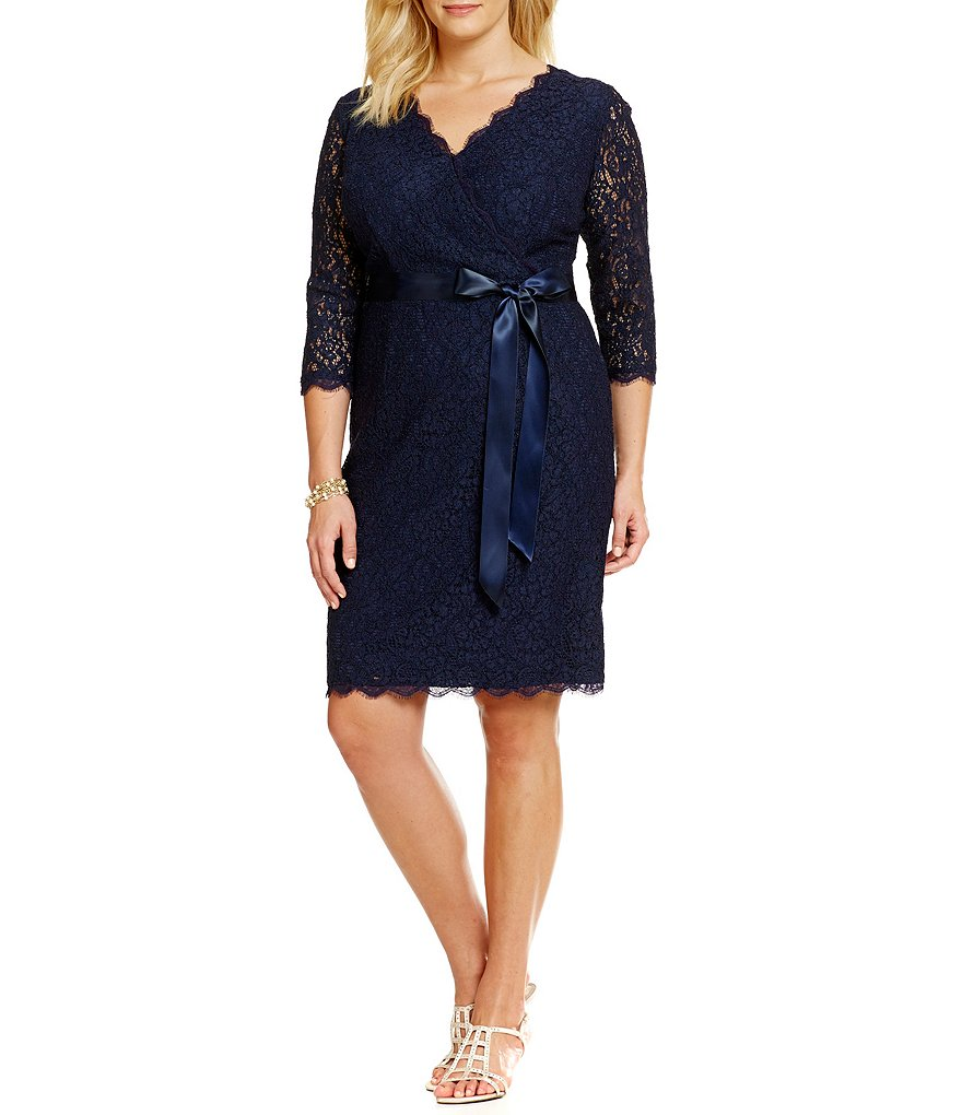 Adrianna Papell Plus Faux-Wrap Lace Dress