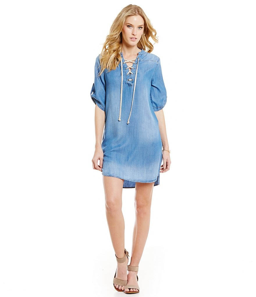 Chelsea & Violet Chambray Lace Up Dress