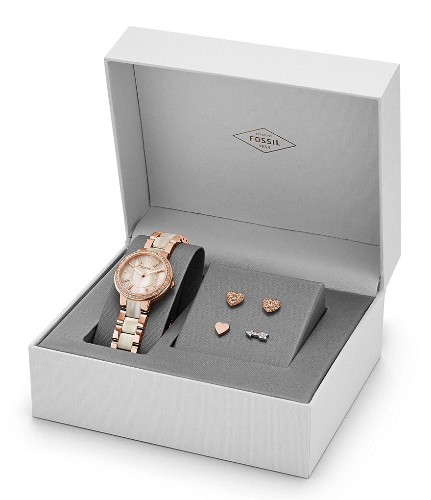 Fossil Virginia Watch & Earrings Boxed Gift Set