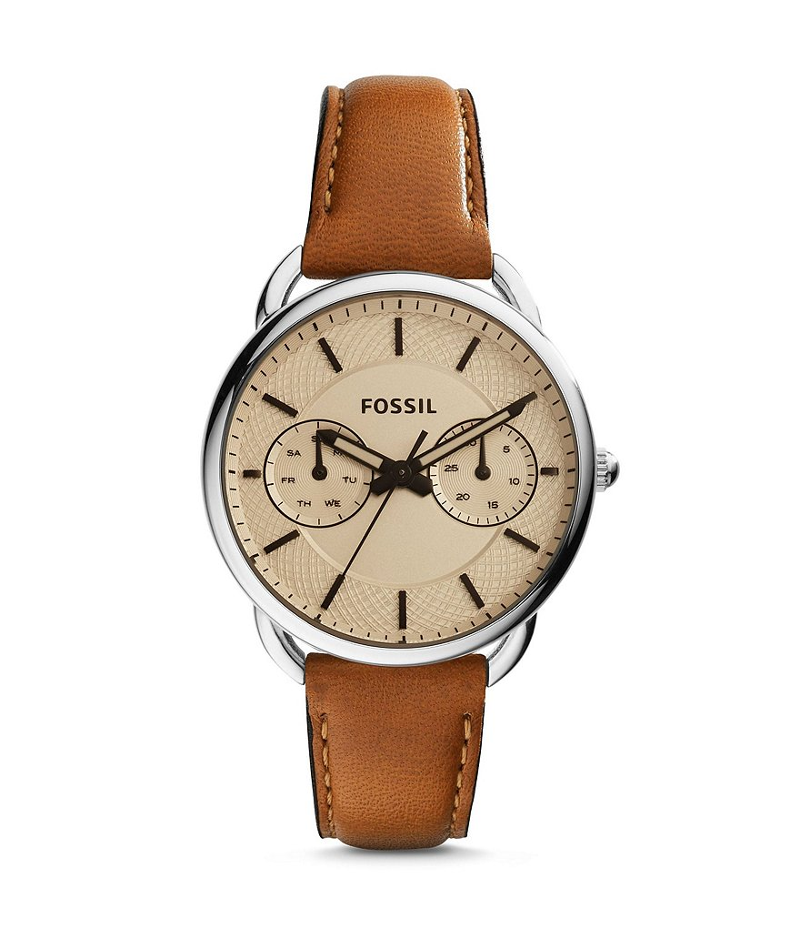 Fossil Tailor Stainless Steel Multifunction Leather Strap Watch