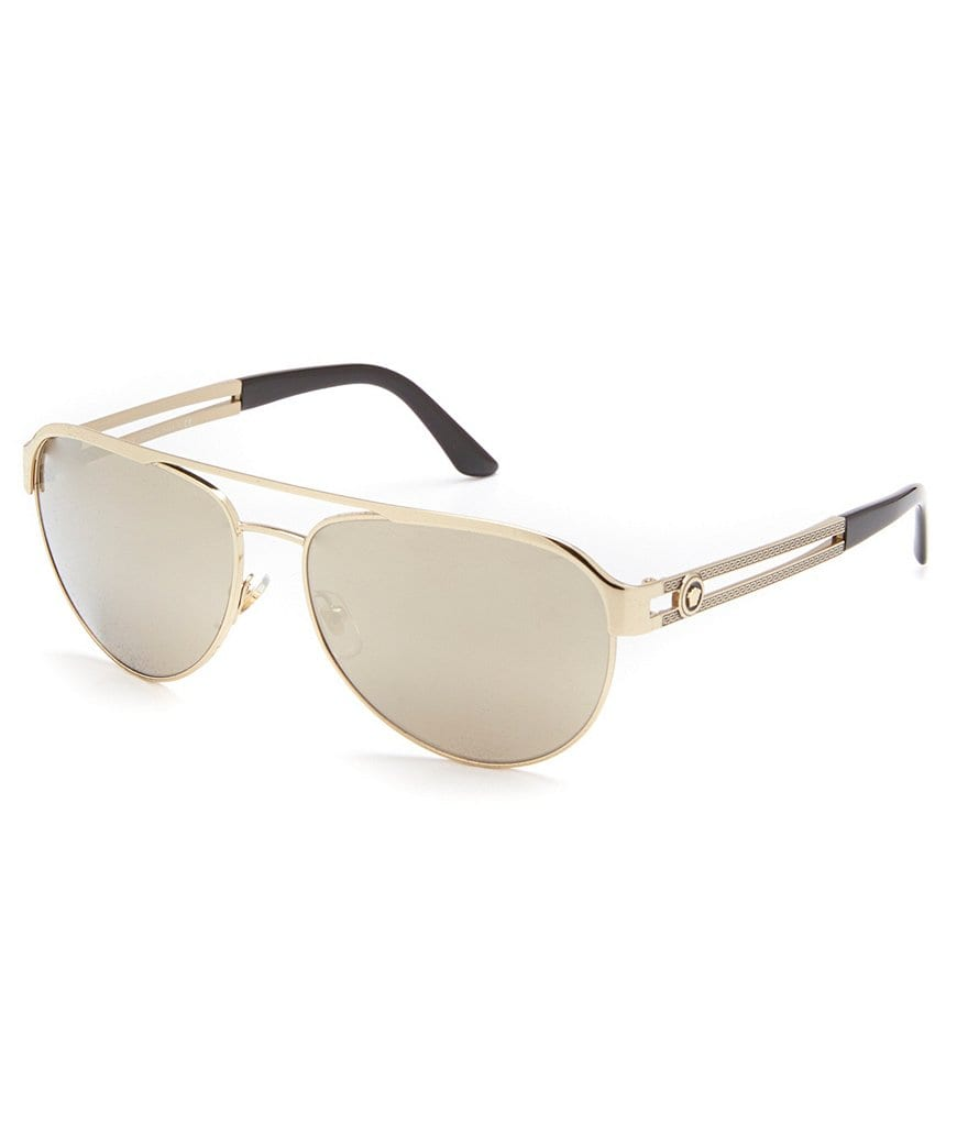 Versace Vintage Vanitas Double Bridge Mirrored Aviator Sunglasses