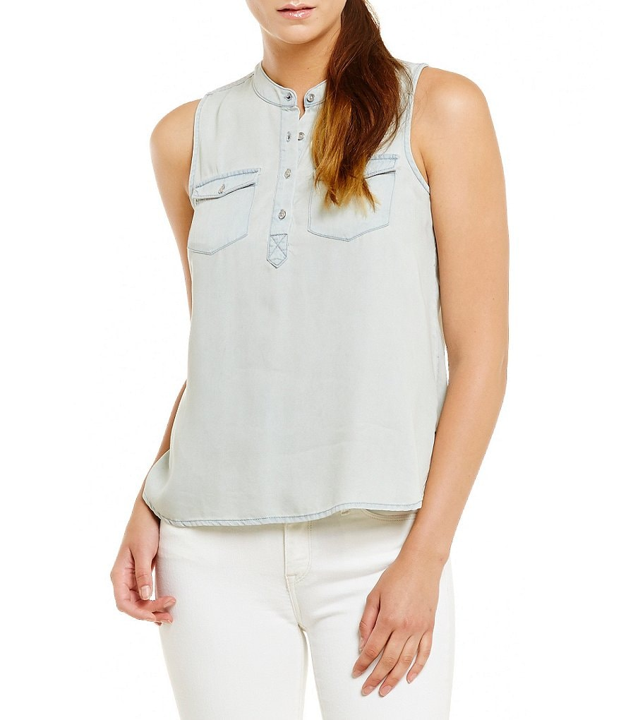 Calvin Klein Jeans Sleeveless Hi-Low Denim Shirt