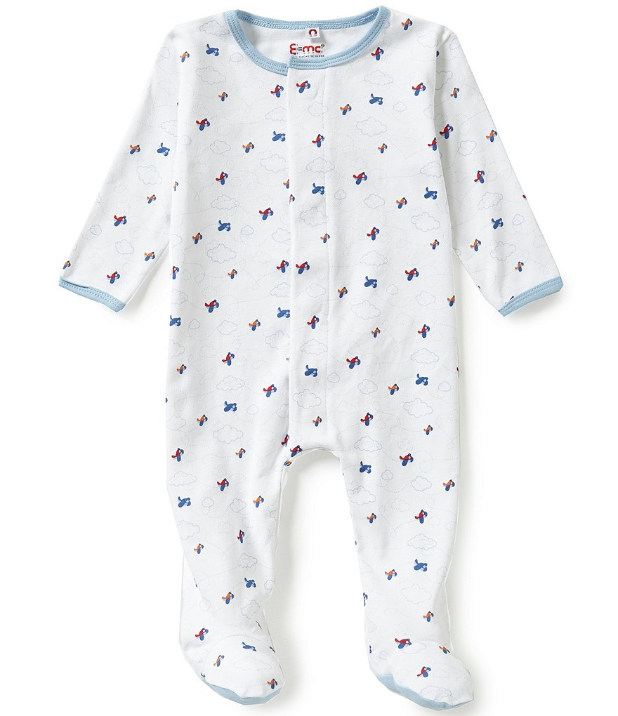 E=MC2 Baby Boys Preemie-9 Months Airplane-Printed Magnetic-Closure Footed Coverall
