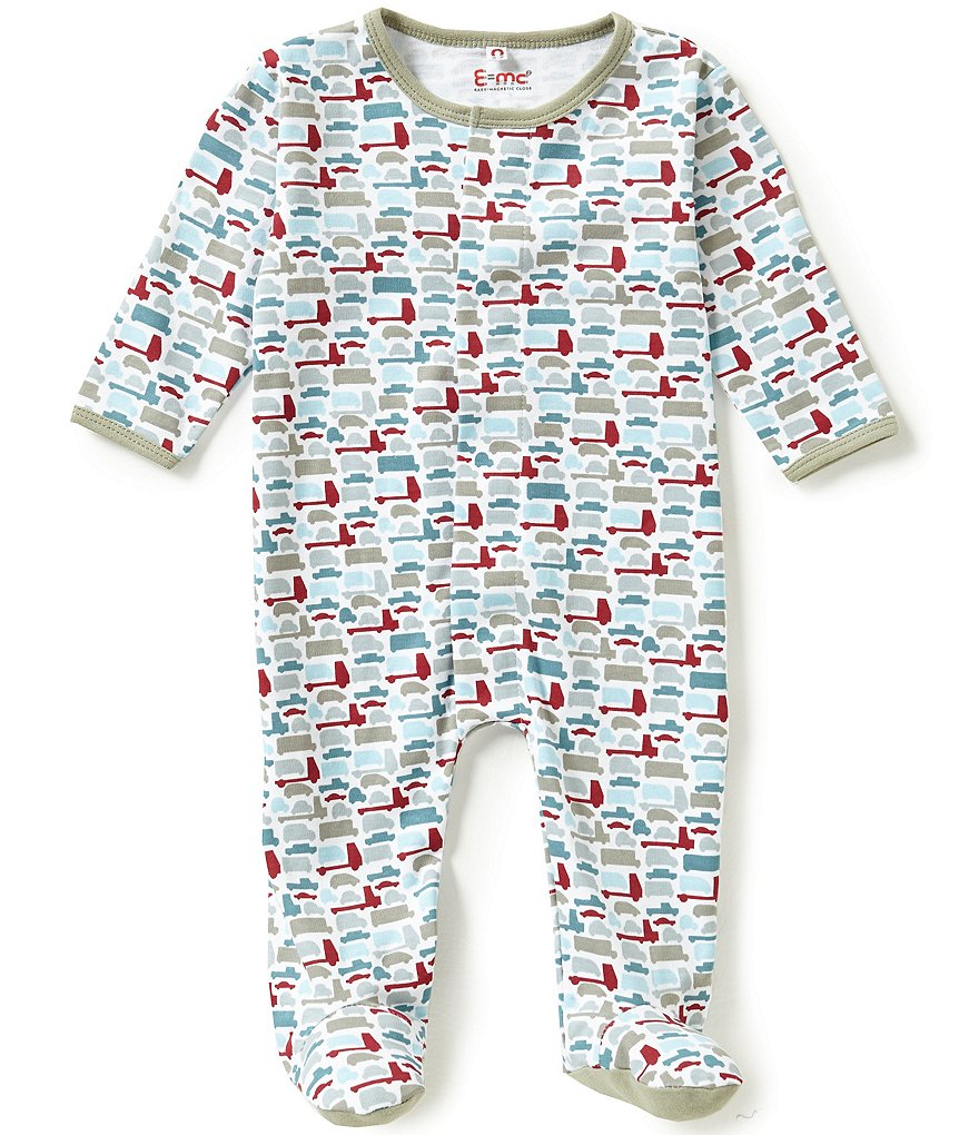 E=MC2 Baby Boys Newborn-9 Months Mod-Truck-Printed Magnetic-Closure Footed Coverall