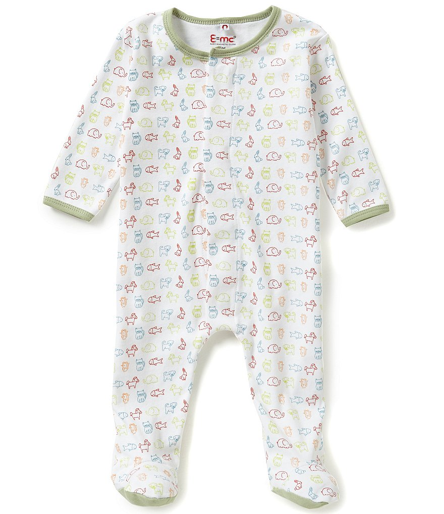 E=MC2 Preemie-9 Months Linedrawn-Animal-Printed Magnetic-Closure Footed Coverall