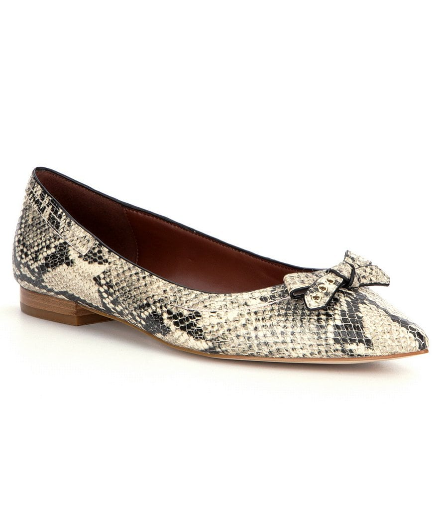 Cole Haan Alice Women´s Snake-Print Bow Detail Leather Skimmers