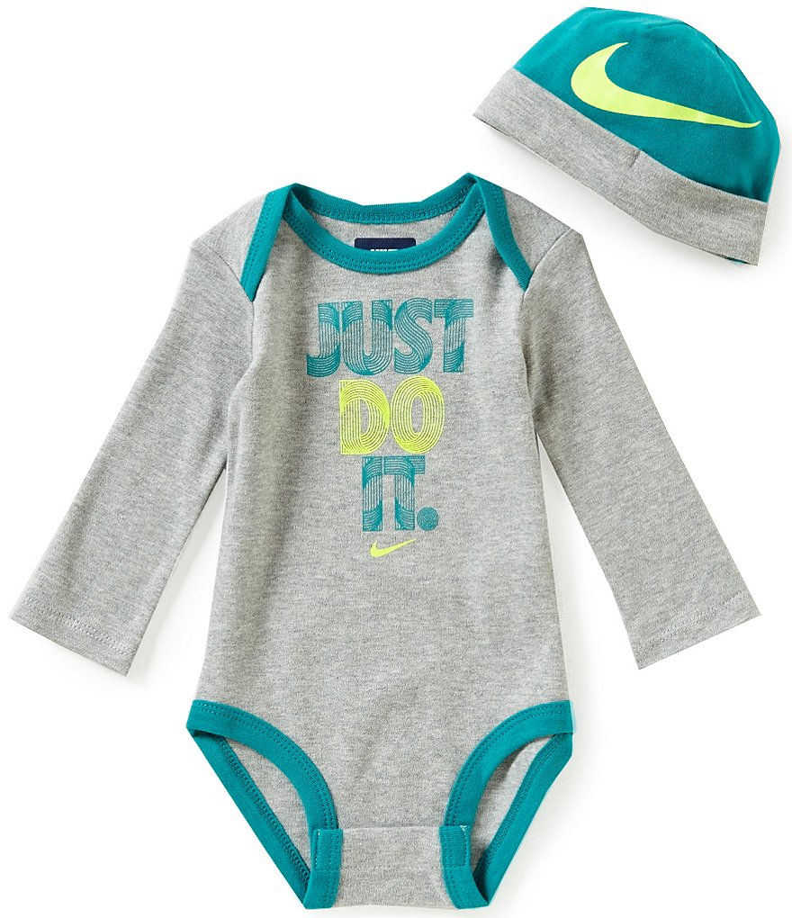 Nike Baby Boys Newborn-12 Months Just Do It Long-Sleeve Bodysuit and Hat Set