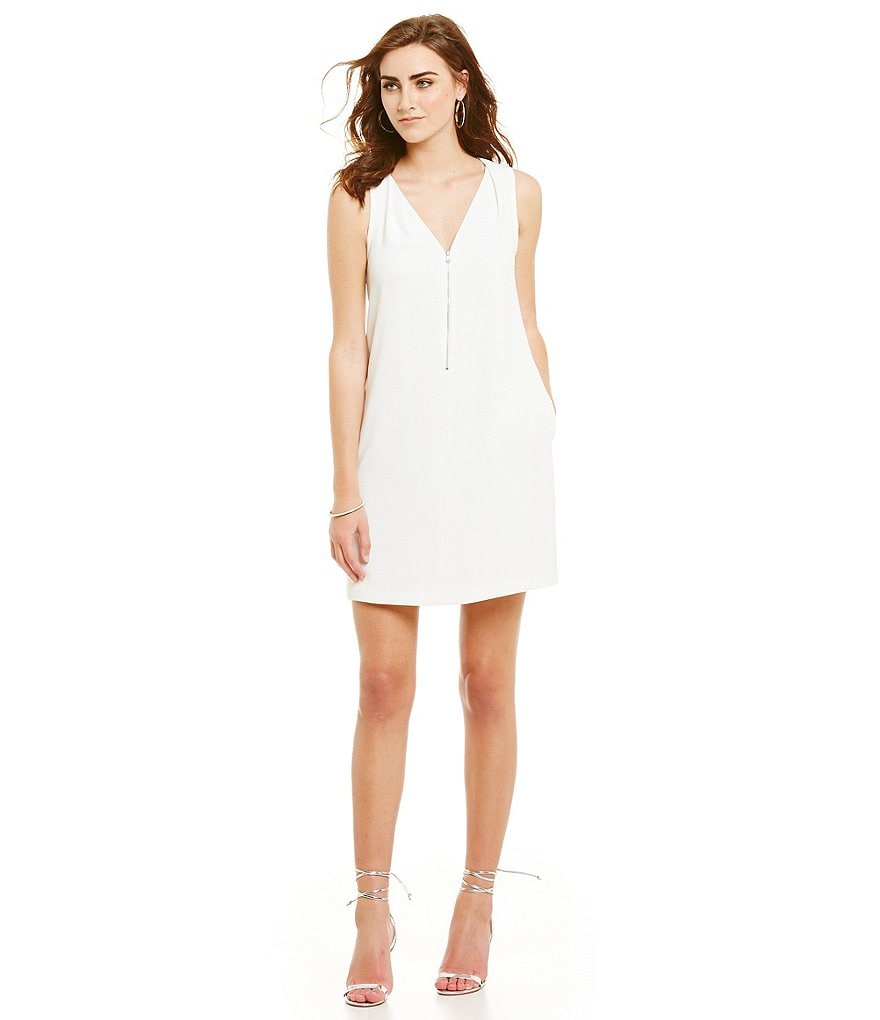 Trina Turk Banning Zip Front V-Neck Dress