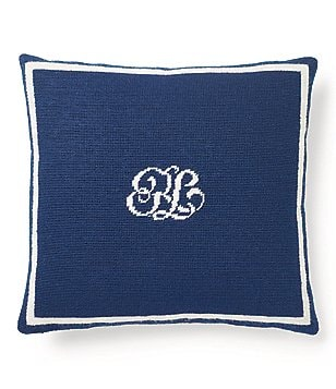 Ralph Lauren Leighton Monogrammed Canvas Square Pillow