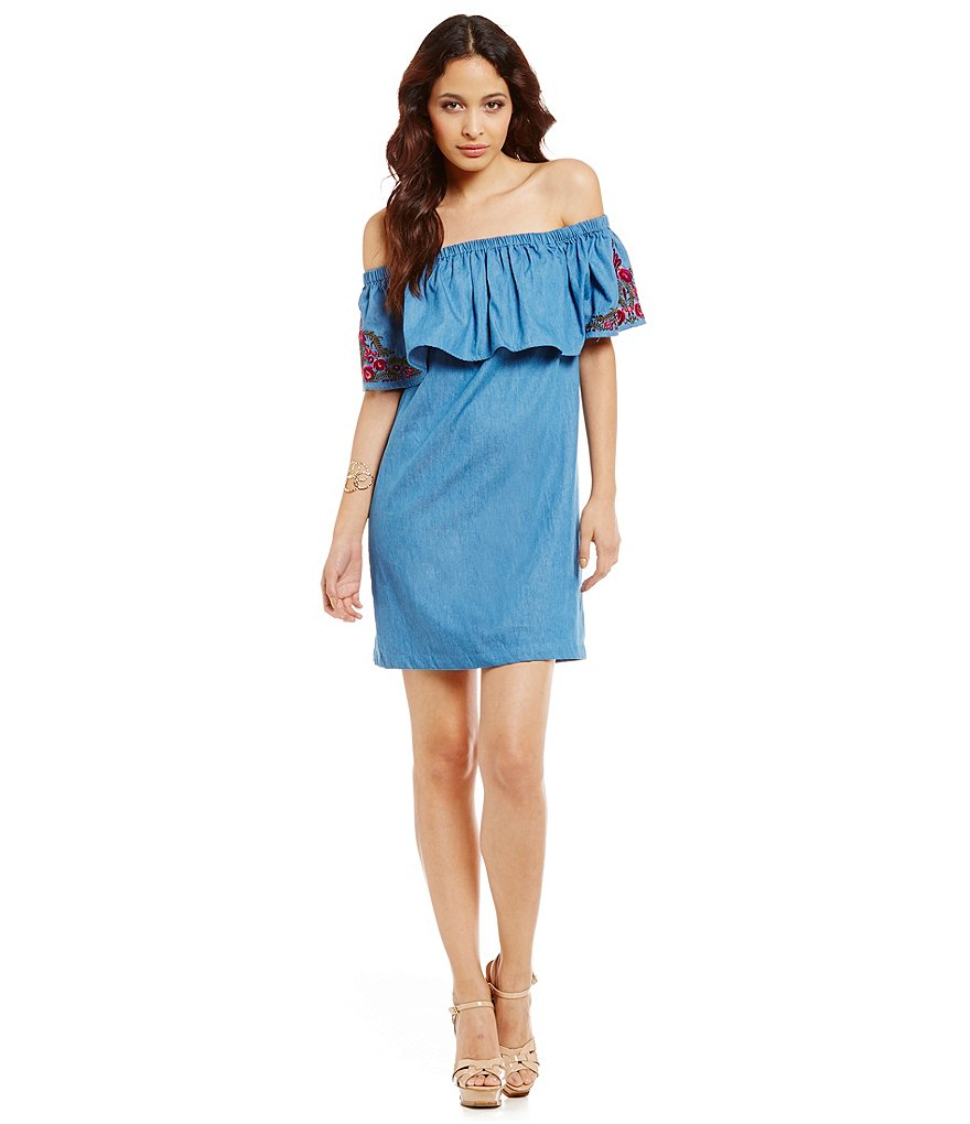 Sugarlips Denim Off-the-Shoulder Dress