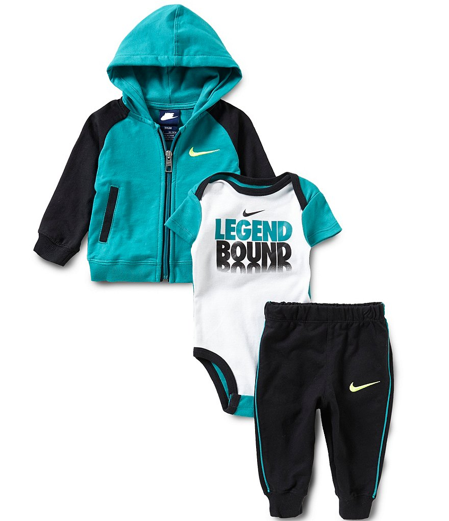 Nike Baby Boys Newborn-12 Months Color Block French Terry Hoodie, Solid Pants & Legend Bound Short-Sleeve Bodysuit Set