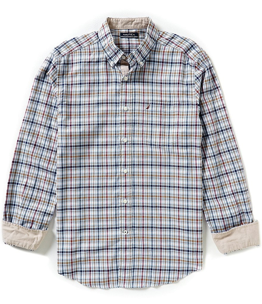 Nautica Classic-Fit Biking Plaid Shirt